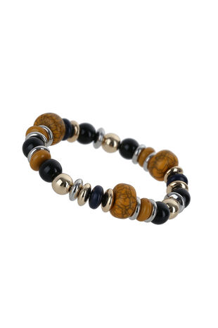 Muse Beaded and Polished Stretch Bracelet