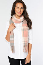Pink and Grey Check Scarf