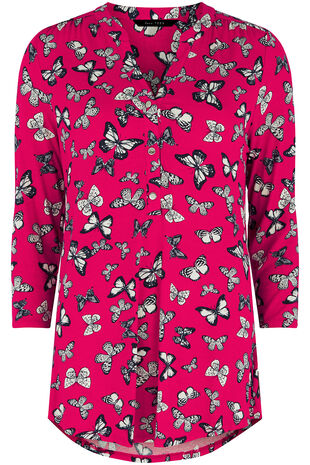 Butterfly Print Gathered Shirt