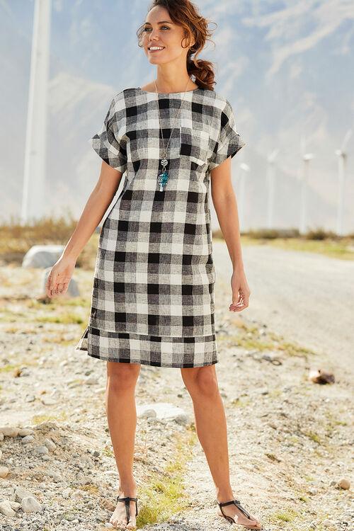 Check Print Button Back Linen Blend Dress