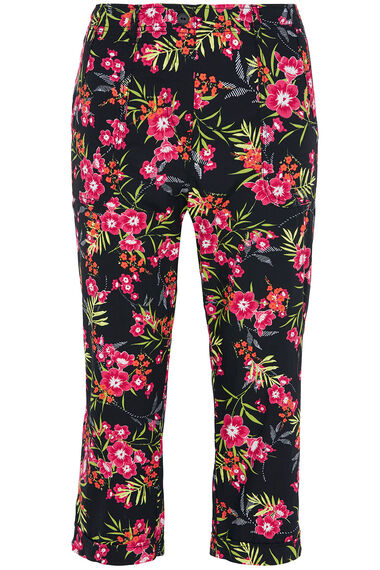 Tropical Floral Cotton Cropped Trousers