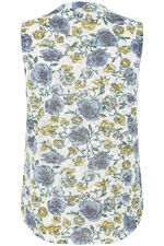 Sleeveless Floral Print Button Through Top