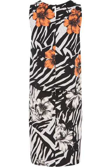 Tropical Animal Print Double Layer Dress