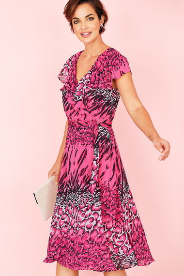 Ombre Leopard Print Frill Wrap Dress