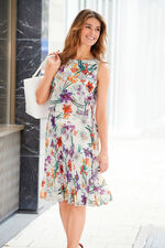 Pleated Floral Print Dress