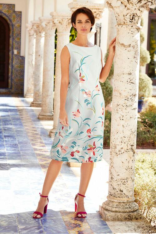 Trailing Print Stretch Shift Dress