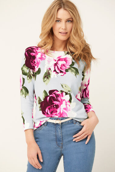 3/4 Sleeve Floral Printed Jumper