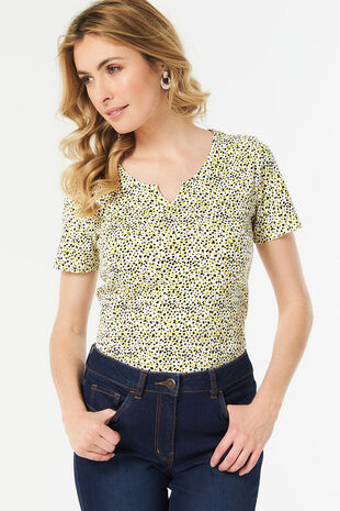 Animal Spot Print Notch Neck T-Shirt