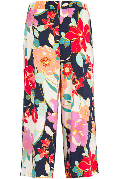 Floral Spun Viscose Wide Leg Crop