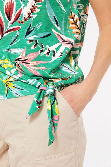 Leaf Print Tie Side T-Shirt