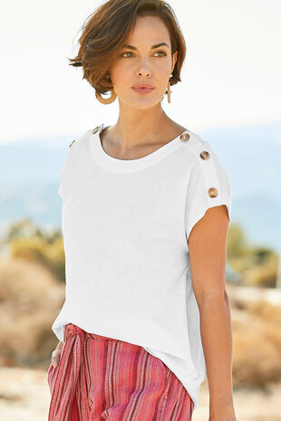 20b44c57cbb Short Sleeve Plain Linen Blend Shell Top
