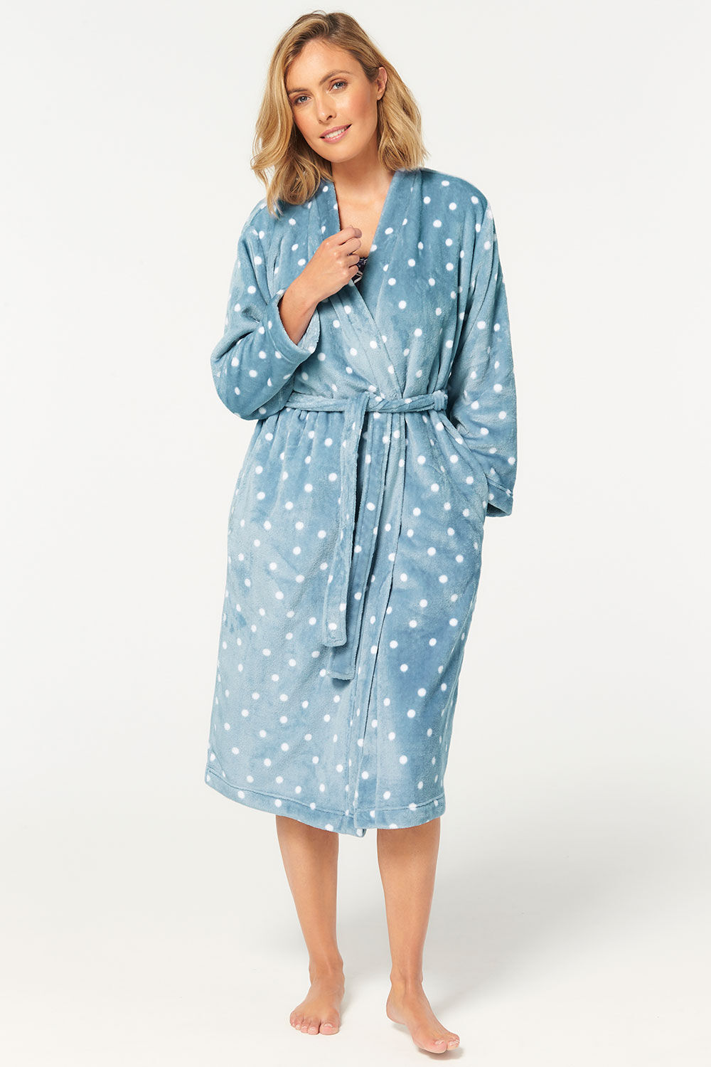 Ladies Dressing Gowns Robe wrap Navy Spotted Shawl Collar