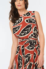 Tie Waist Leaf Print Dress