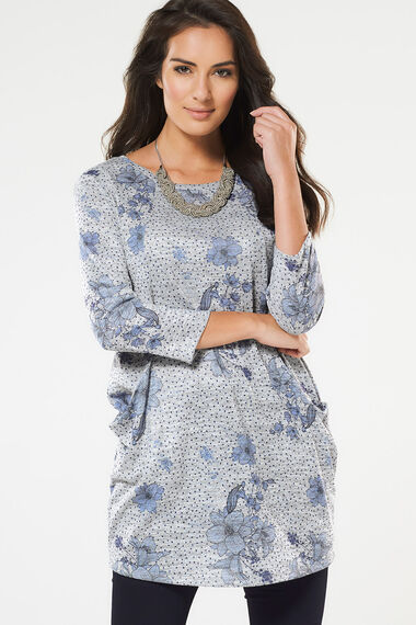 Printed Tunic With Slouch Pockets