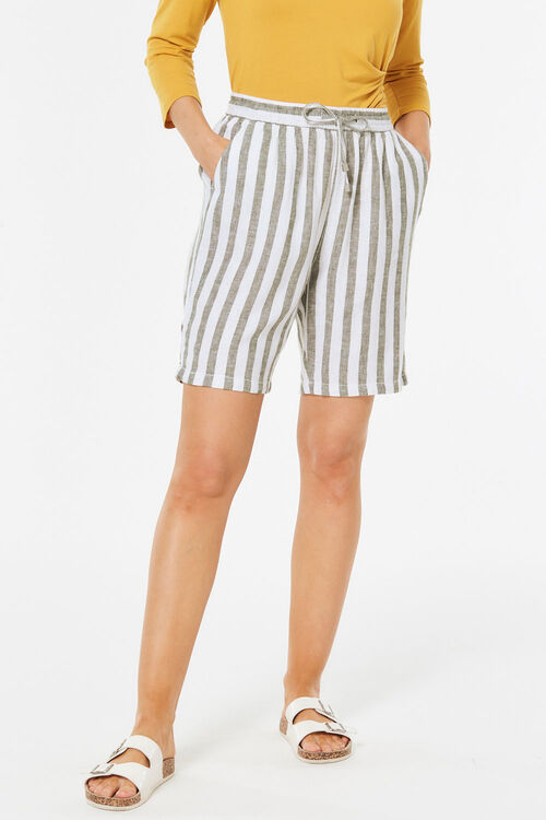 Bold Stripe Linen Blend Short