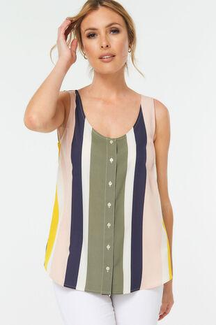 Stripe Print Button Through Vest