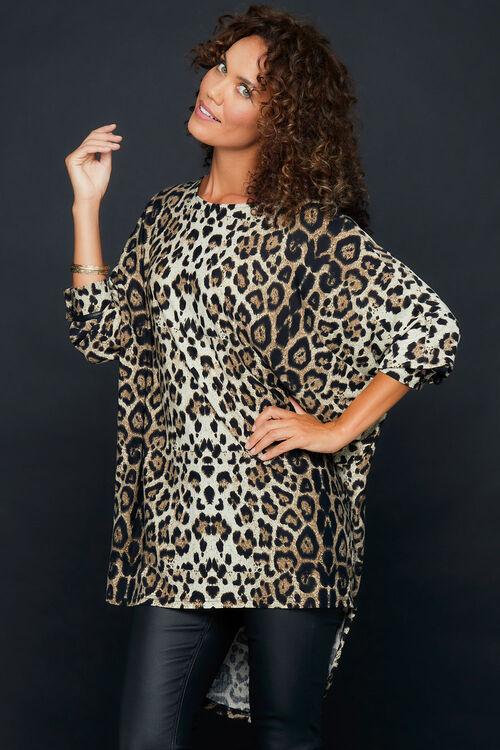 Izabel Animal Print Batwing Sleeve Oversized Tunic