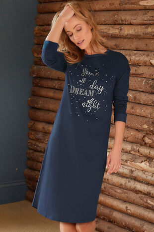 Long Sleeve Slogan Nightdress