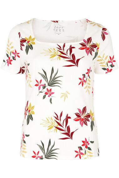 Square Neck Tropical Print T-Shirt
