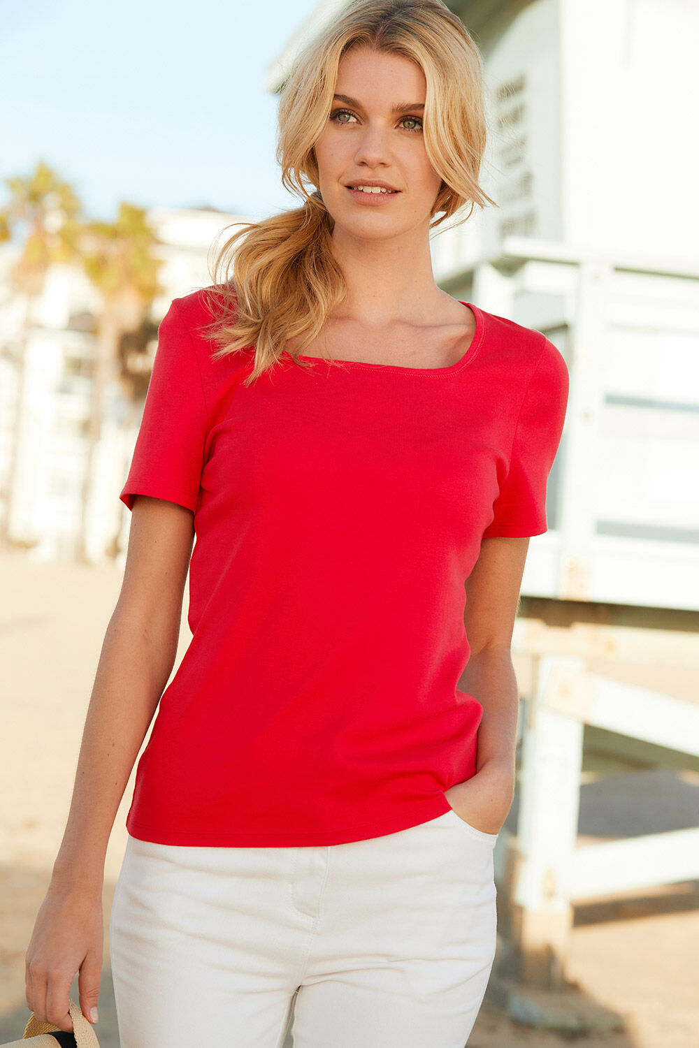 1a518f922bc Square Neck T-Shirt. Hover to zoom