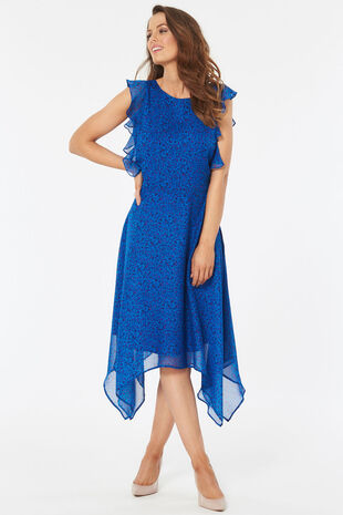 Ditsy Ruffle Sleeve Hanky Hem Dress
