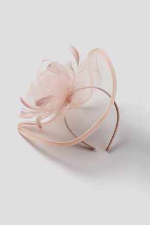 Muse Pink Feather Saucer Fascinator