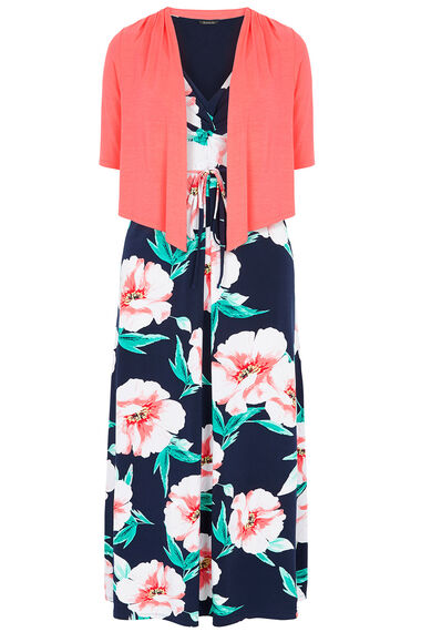2 in 1 Printed Maxi Dress and Shrug