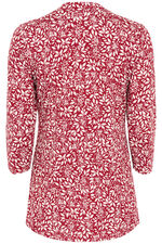 Leaf Print Pintuck Jersey Top