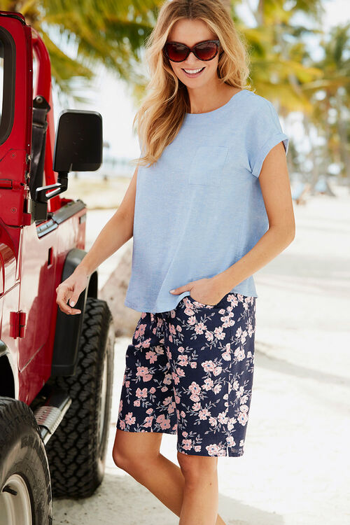 Poppy Print Linen Shorts