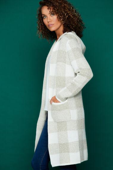 Izabel Checked Hooded Cardigan