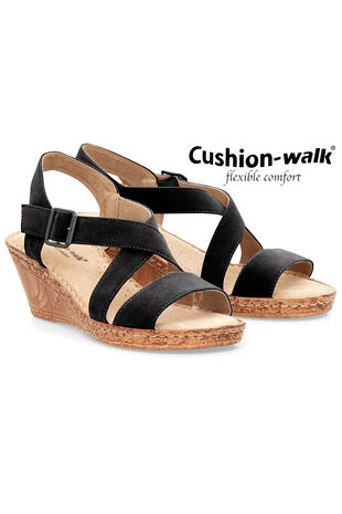 Cushion Walk Wedge Shoe with Cross Straps