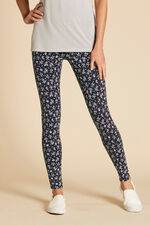 Linear Leaf Print Leggings