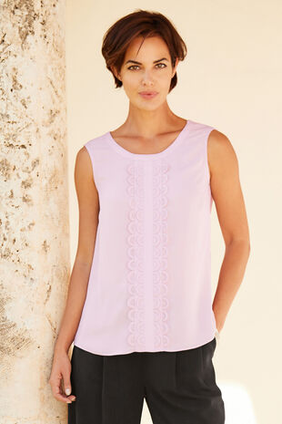 Binding Detail Sleeveless Top