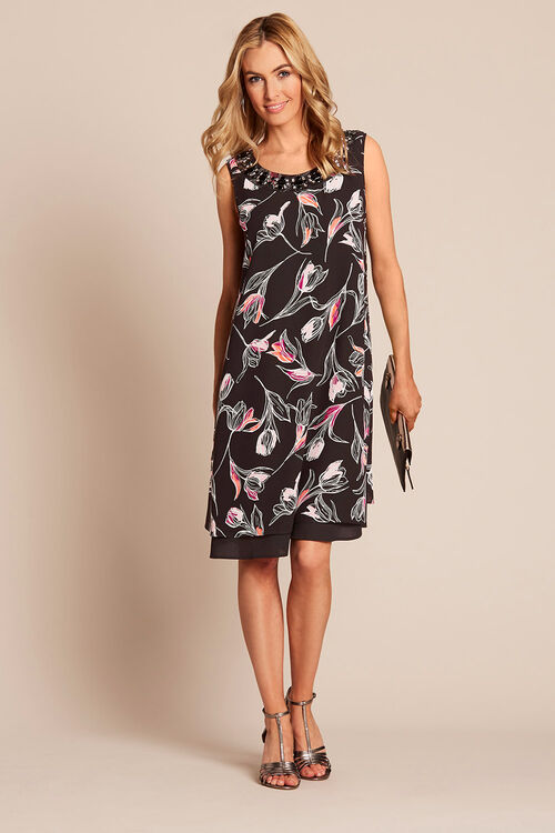 Embellished Printed Double Layer Dress
