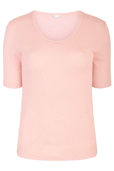 Pink Thermal Short Sleeve Top