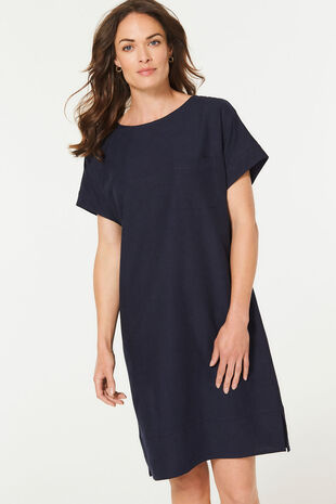 Button Back Linen Blend Dress