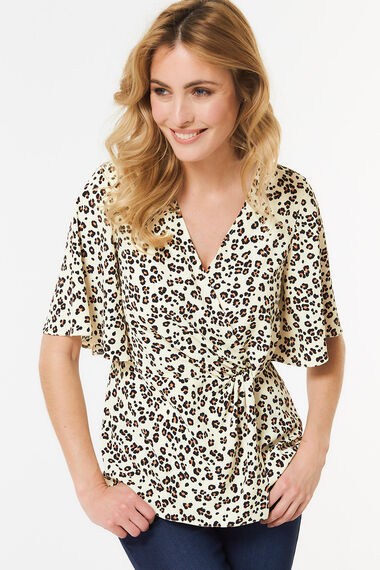 Animal Print Knot Detail Top