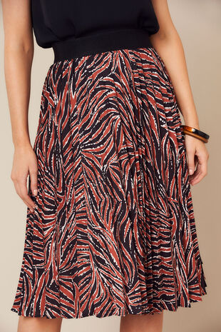 Grace By Eda Pleated Animal Skirt Print Skirt