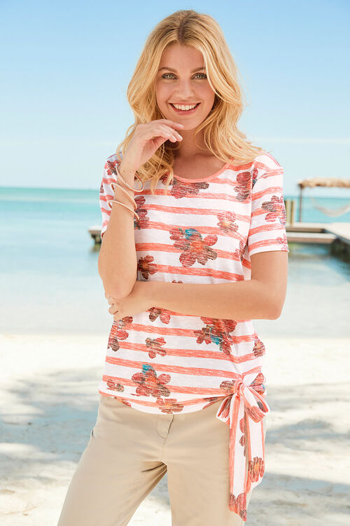 Stripe & Floral with Tie Side Top