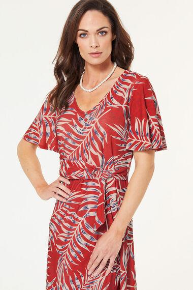 Flared Sleeve Print D-Ring Dress