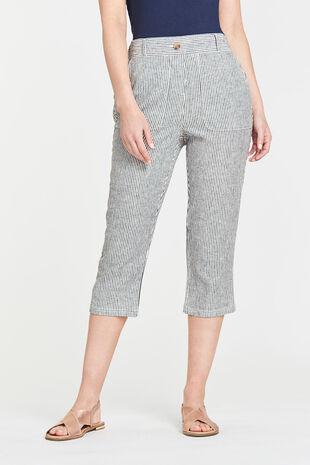 Linen Blend Stripe Cropped Trouser