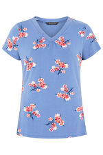 Small Floral Print V Neck Top