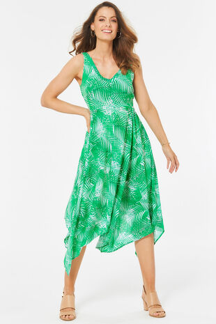 Sleeveless Palm Print Hanky Hem Dress