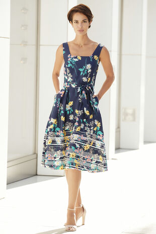 Cotton Sateen Floral Dress