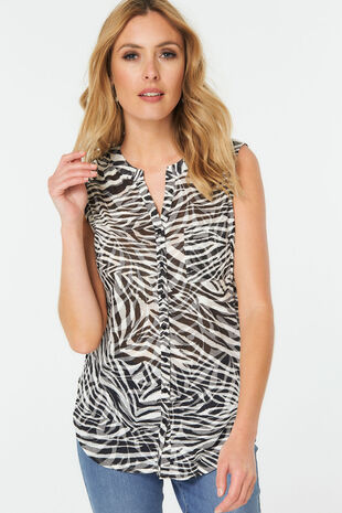 Zebra Print Sleeveless Shirt