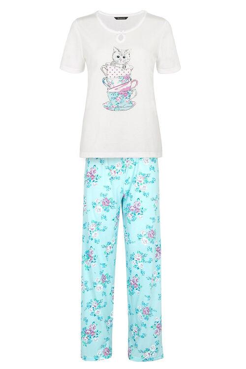 Cat Teacup Print Pyjamas