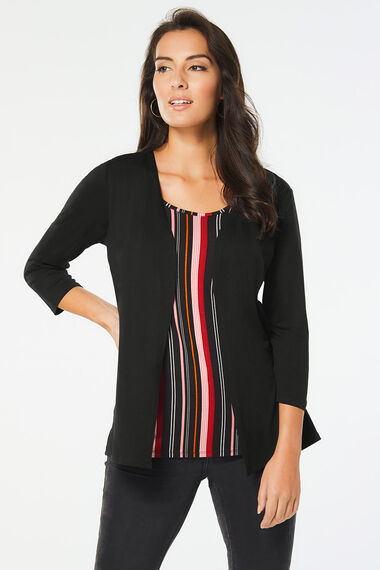 2 in 1 Black Cardigan and Stripe Top