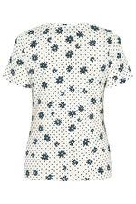 Notch Neck Daisy Print T-Shirt