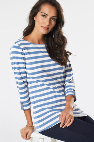 Denim Marl Stripe Sweat