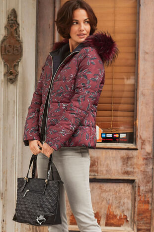 Short Printed Padded Coat